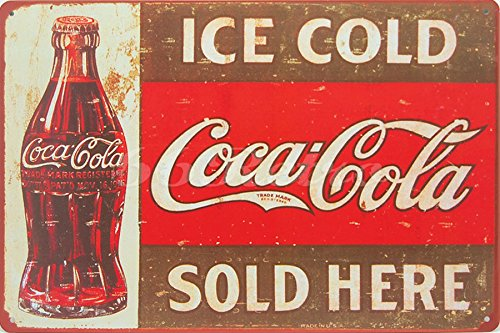 Ice Coca-Cola Sold Here, Metal Tin Sign, Wall Decorative Sign, Size 8