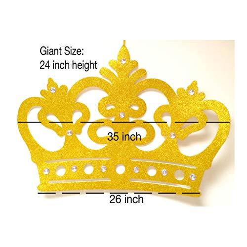 Giant Glitter Crown Wall Decor, EVA Styrofoam, High Quality (Gold) (Wall Crown Decoration)