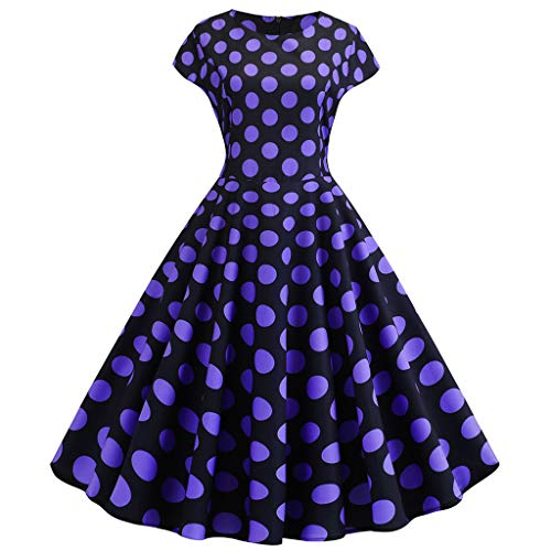 GOWOM Women Vintage 1950s Retro Short Sleeve Dot Print Evening Party Prom Swing Dress(Purple-1,XX-Large)