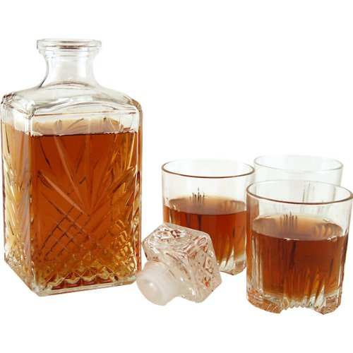 (Bormioli Rocco Selecta Collection Whiskey Gift Set - Sophisticated Etched 33.75oz Decanter & 6 9.5oz Glass Tumblers With Starburst Detailing - For Whiskey, Bourbon, Scotch & Liquor)