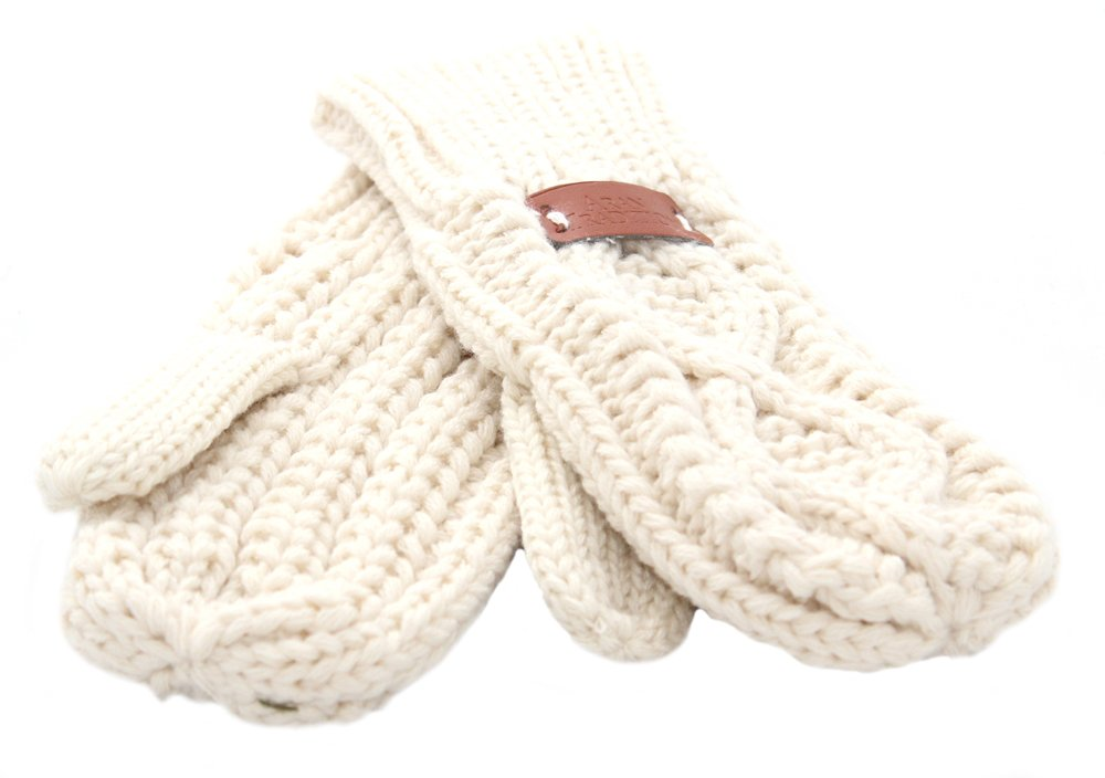 Aran Traditions Diamond Cable Knit Winter Mitts (Cream)