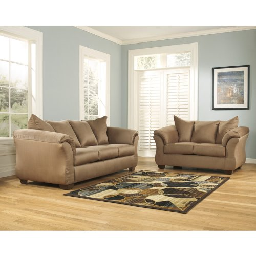 StarSun Depot Signature Design by Ashley Darcy Living Room Set in Mocha Microfiber 67