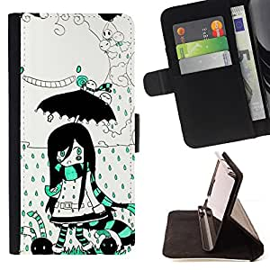 Jordan Colourful Shop - girl umbrella magic world cartoon drawing For LG G3 - < Leather Case Absorci????n cubierta de la caja de alto impacto > -