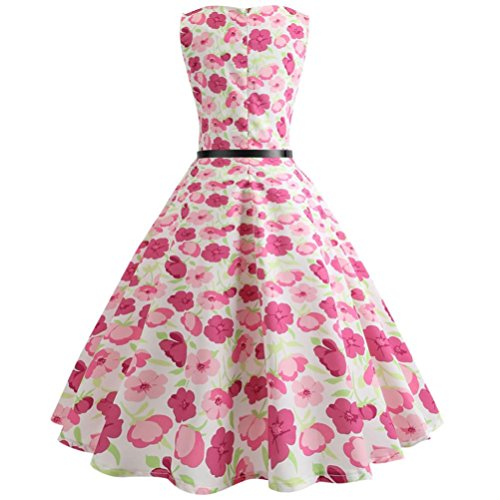 Huhu833 50s Retro Vintage Kleid Drucken Blumen ärmelloses Casual ...