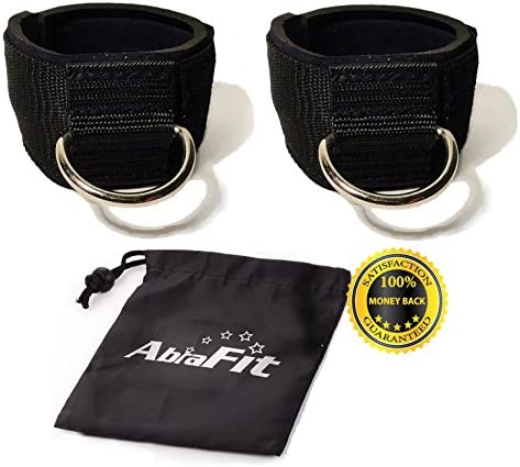 AbraFit Premium Ankle Straps for Cable Machines Pack of 2 ,Neoprene Padded Ankle Straps with D-Ring Free Carry Case Included