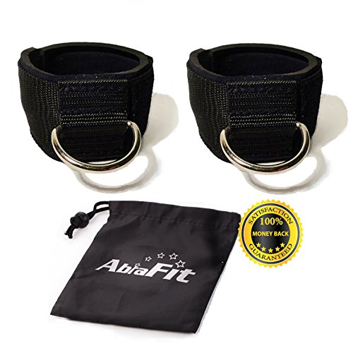 AbraFit Premium Ankle Straps for Cable Machines(Pack of 2),Neoprene Padded Ankle Straps with D ring(Free Carry Case Included)