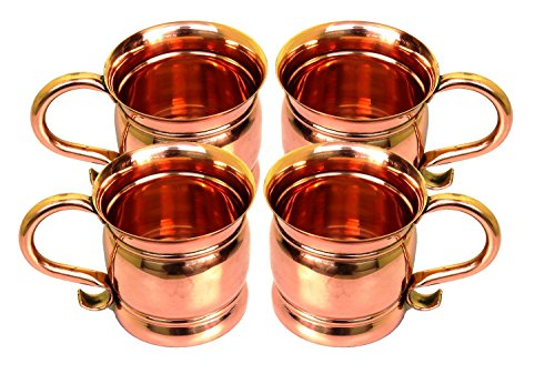 Indian Gifts Store 100% Authentic Copper Old Fashion Smooth Moscow Mule Mug with Flat Lip....Set of 4