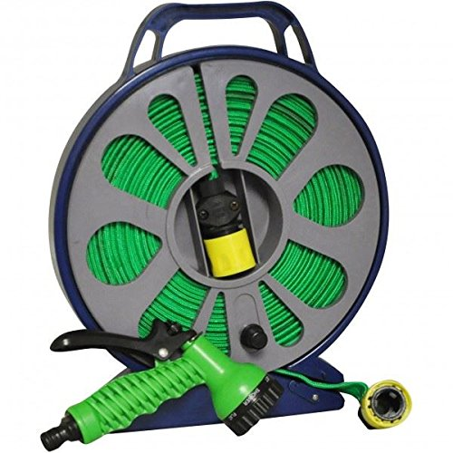 15M LAY FLAT HOSE IN CASSETTE WITH MULTI SPARY GUN AND FITTINGS LIGHT WEIGHT ESY TO STORE S&S