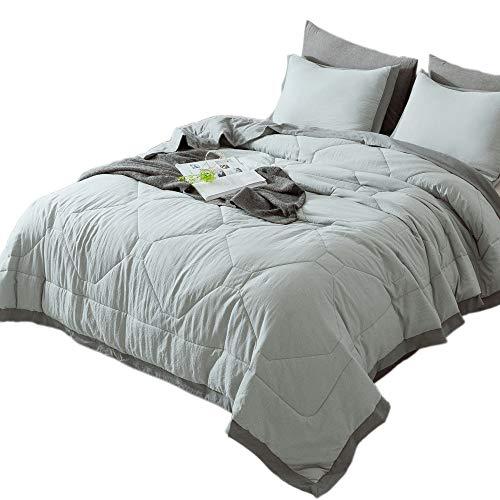 (KASENTEX Quilted Comforter Set with Stylish Ruffled Edge Trim Nostalgic Design 3 Piece Mini Set Microfiber Soft Warm Bedding with Shams (Light Grey, King + 2 King Shams))