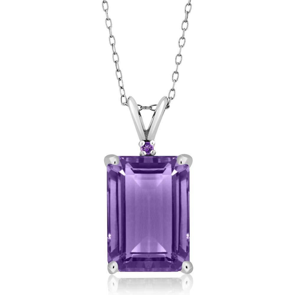 7.12 Ct Genuine Emerald Cut Purple Amethyst Gemstone 925 Sterling Silver Pendant with 18 Inch Silver Chain