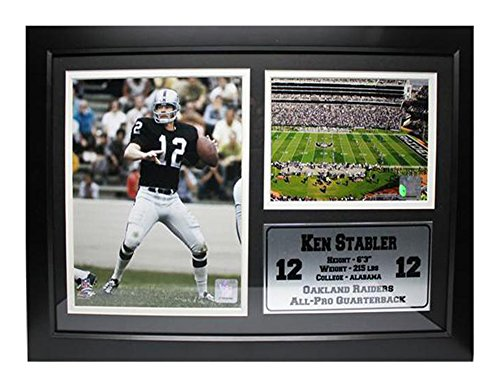 Encore Select 126-61 NFL Oakland Raiders Framed Ken Stabler Photo and Oakland-Alameda County Coliseum Print with Nameplate, 12-Inch by 18-Inch