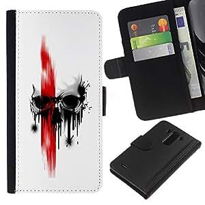 All Phone Most Case / Oferta Especial Cáscara Funda de cuero Monedero Cubierta de proteccion Caso / Wallet Case for LG G3 // Red Skull