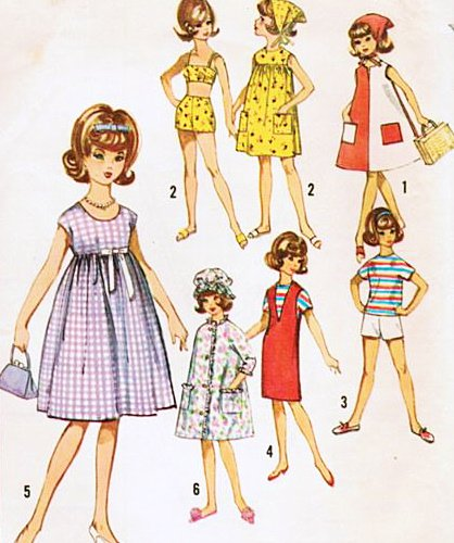 Simplicity 5446 Tammy Doll Sewing Pattern, Wardrobe for 12