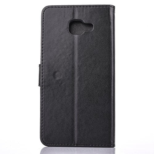 For Samsung Galaxy A7 2016 Case , Samsung Galaxy A7 2016 Cover - Cozy Hut Elegant Relief Dandelion Patterned Embossing PU Leather Case, Credit Card Holder, Cash Wallet, Built Stand, Magnetic Closure, Black