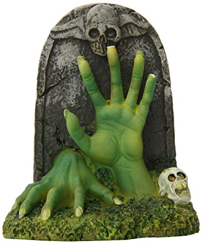 Penn Plax Zombie Hands and Tombstone Aquarium Ornament, 3.8 by 2.4 by 4.3-Inch