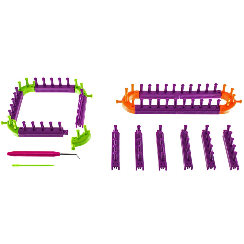 Snap Together Create Your Own Loom Knit Kit - Includes 20 Connectable Loom Pieces, 1 Picking Hook, and 1 Plastic Needle - for Creating Hats, Scarves, Blankets, Cowls, and More