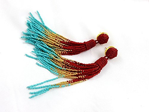 Beaded long tassel earrings, red gold turquoise ombre tassle earrings, statement seed beads earrings, luxury party earrings, handmade gifts for women