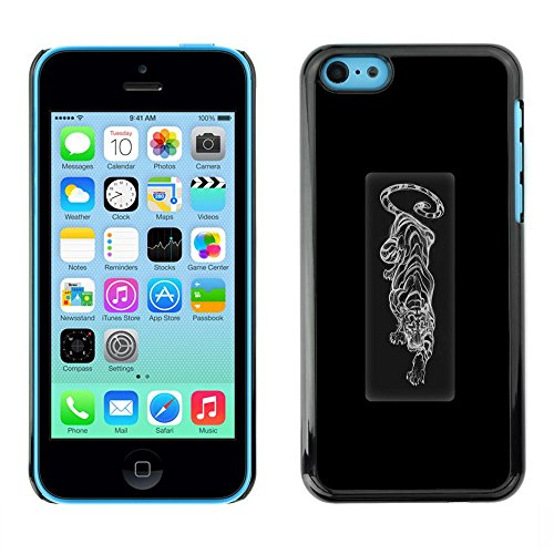 Plastic Shell Protective Case Cover || Apple iPhone 5C || Poster Black White Cat @XPTECH