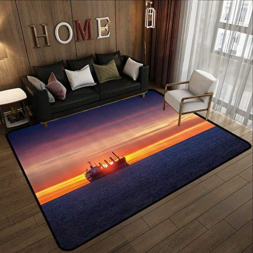 Small Rugs,Nautical Decor,Sunrise Horizon On The Sea with Sailing Logistic Cargo Ship Nautical Destination Print,Blue Orange 63