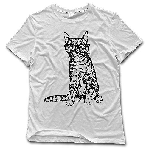 Fony Men's Cat's Meow Print Beagle Cat Sketch Short Sleeve Vintage T Shirts