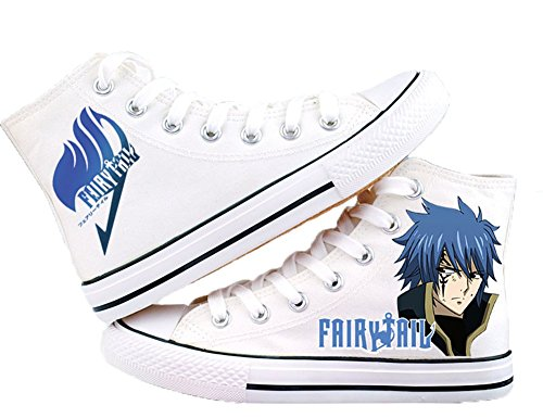 Fairy Tail Canvas Sko Cosplay Sko Joggesko Hvit / Svart Hvit 2