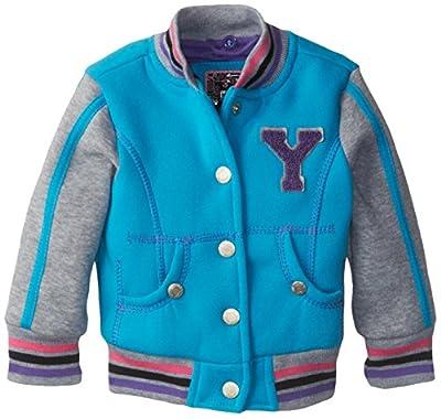 YMI Baby Girls' Hooded Fleece Varsity Jacket