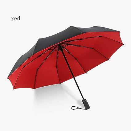 LZ Paraguas doble automático de gran tamaño reforzado diez paraguas plegable de hueso hombres y mujeres