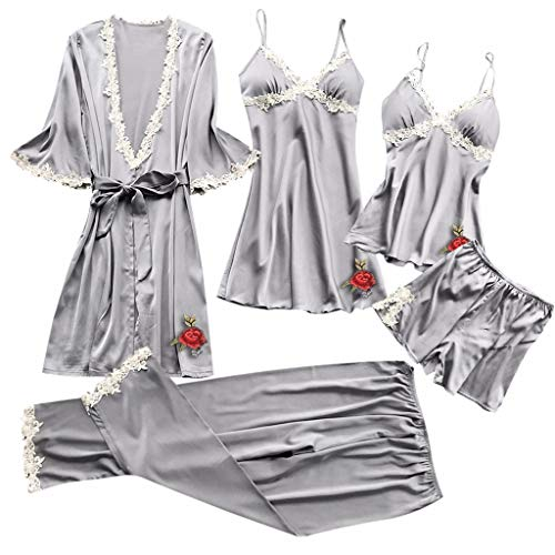 RAINED-Women Silk Pajamas Set Sexy Lace Lingerie Nightwear Underwear Babydoll Sleepwear Dress 5PC ()