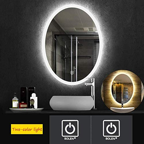 Oval Led Illuminated Bathroom Mirror Easy to Install Two-Color Wall Mounted Makeup -