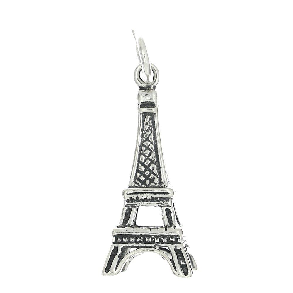 Sterling Silver Oxidized Tall Paris Eiffel Tower in France Three Dimensional Charm