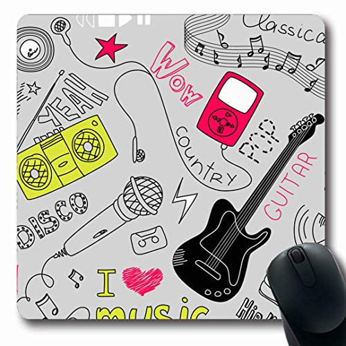 Ahawoso Mousepads Cutout Earphone Music Doodles Girl Mp3 Guitar Player Sketch Blaster Oblong Shape 7.9 x 9.5 Inches Non-Slip Gaming Mouse Pad Rubber Oblong Mat