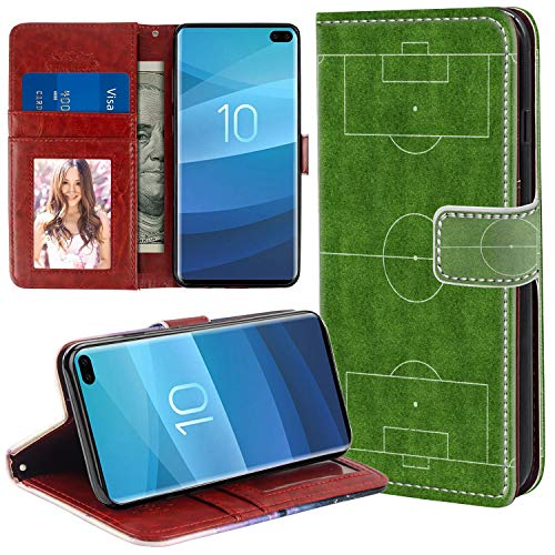 (MOTIKO Wallet Case Card Holder Soccer Field Compatible with Samsung Galaxy S10+ All-Sided Shock Absorption Flip Case Folio Protective Cover)