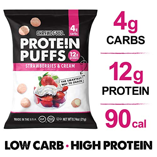 Shrewd Food Strawberries and Cream Protein Crisps 8 Pack | High Protein, Low Carb, Gluten Free Snacks | No Artificial Flavors | Soy Free, Peanut Free