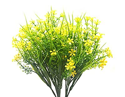Artificial Flowers Plants, 4pcs Faux Plastic Shrub Bouquet Simulation Greenery Bushes Indoor Outside Home Garden Office Wedding Decor (JLX Yellow)