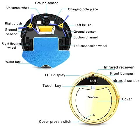 Robot de Balayage Intelligent, aspirateur Robot à Chargement Automatique, Silencieux, Forte Aspiration, aspirateur Domestique Ultra-Mince, doré