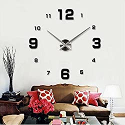 Elikeable Modern 3D Frameless Large Wall Clock Style Watches Hours DIY Room Home Decorations (Black2)