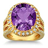 Silvostyles 7 1/2 Carate oval Amethyst & Simulated Diamond Ring In 14K Yellow Gold Plated
