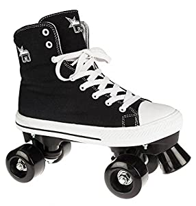 Rookie Rollschuhe Canvas High Disco Roller schwarz-weiß black-white, 36.5 (UK 4)
