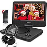 WONNIE New 10.5 Inch Portable DVD Player with 9.5 inch Swivel Screen, USB / SD Slot for Kids ( Black )
