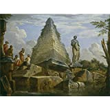 Canvas Prints Of Oil Painting 'Panini Giovanni Paolo Ruinas Con La Piramide De Cayo Cestio Ca. 1730' 20 x 27 inch / 51 x 68 cm , Polyster Canvas, gifts for Bed Room, Laundry Room And Living decoration