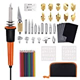 Wood Burning Kit and Soldering Iron Kit for Pyrography - 35 Pack Creative Woodburner Set with Adjustable Temperature Pyrography Pen Include Various Wood Embossing/Carving/Soldering Tips
