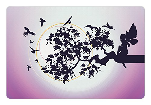 - Ambesonne Pet Mat for Food and Water, Rectangle Non-Slip Rubber Mat for Dogs and Cats, Fantasy Fairy Silhouette Sitting on The Branch of Tree with Flying Birds, Purple Fuchsia