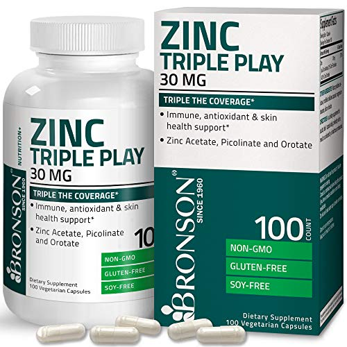 Bronson Zinc Triple Play 30 mg Triple Coverage Immune Support Zinc Supplement with Zinc Acetate, Picolinate & Orotate…