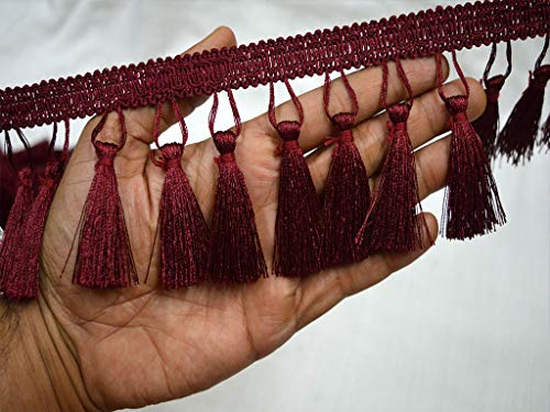 9 Yard Wholesale Burgundy Tassels Trim 3 inches Boho Fringe Trim Decorative Indian Gypsy Bohemian Fringed Ribbon Embellishment Crafting Sewing Clothing Accessories Bedding Curtains