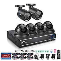 SANNCE 8 Channel HD-TVI 1080N/720P Video Security System DVR and (6) HD 1280TVL Indoor/Outdoor Weatherproof CCTV Cameras, Motion Alert, Smartphone& PC Easy Remote Access, NO HDD