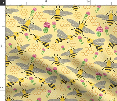 Print Needlepoint - Bees Fabric - Bees Bugs Honeycomb Hive Workers Flowers Buzz Spring Bees Honey Needlepoint Print on Fabric by The Yard - Sport Lycra for Swimwear Performance Leggings Apparel Fashion