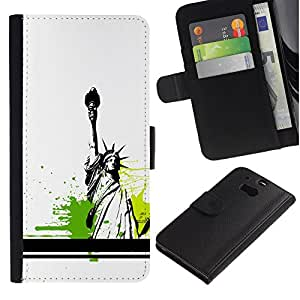 All Phone Most Case / Oferta Especial Cáscara Funda de cuero Monedero Cubierta de proteccion Caso / Wallet Case for HTC One M8 // Statue Of Liberty Color Splash