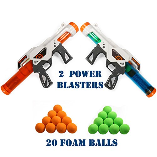HG Power Popper Gun Dual Battle Pack, Foam Ball Air Powered Shooter Toy Guns, Great For Indoor / Outdoor Role Play Or Kids Parties