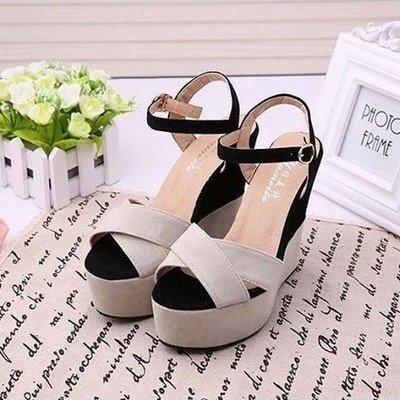 La High SHOESHAOGE EU39 Heel Épais Jeune Chaussures Sandales Gâteau Rome Éponge Fille Femmes Chaussures T11qpwdx