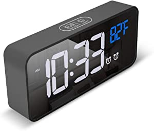 "Small Compact Wireless LED Digital Clock for Bedroom, Table, Nightstand with 6"" Mirror Display, Large Numbers, 4 Brightness Dimmer, Noise Control, Thermometer, Dual Alarm, Snooze"
